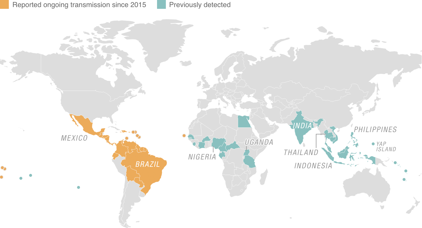 Zika virus map